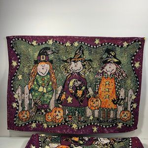 Halloween Tapestry Placemats Witches Pumpkins